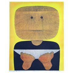 """Rare Tomio Kinoshita Hand-Colored Lithograph, """"Face,"""" 32/50, 1972"""