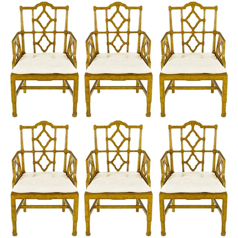Six Chinese Chippendale Copper Tortoiseshell Dining Armchairs