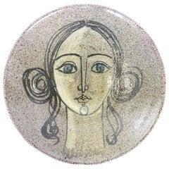 1950s Spanish Ceramic Wall Plaque by Alfaraz