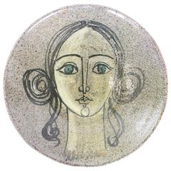 1950s Spanish Ceramic Wall Plaque by Alfaraz