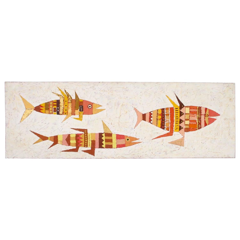large mid century fish wall art at 1stdibs. Black Bedroom Furniture Sets. Home Design Ideas