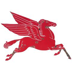 Mobil Gasoline Large Porcelain Enamel Flying Horse Sign