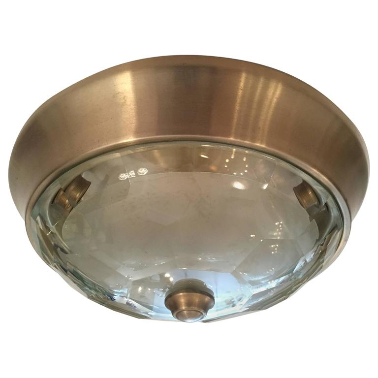 Italian Crystal Mid-Century Modern Flush Ceiling Light  Oscar Torlasco for Lumi 1