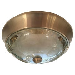 Italian Crystal Mid-Century Modern Flush Ceiling Light  Oscar Torlasco for Lumi