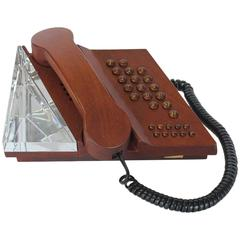 Midcentury Swedish Mahogany Phone by Teli with Orrefors Crystal