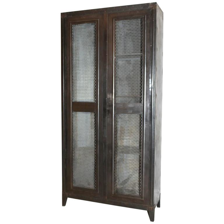 20th century black metal cabinet mesh doors 39 bauche 39 at for Black cabinet with doors