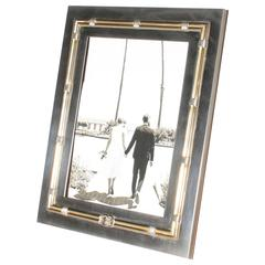 Silver Gucci Picture Frame with Brass Accents, circa 1940
