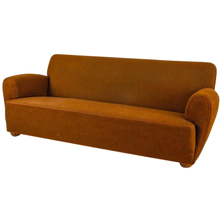 Danish Rounded Three-Seat Sofa with Brown Wool Upholstery, 1940s