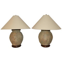 Pair of Ribbed Stone Ware Pottery Lamps