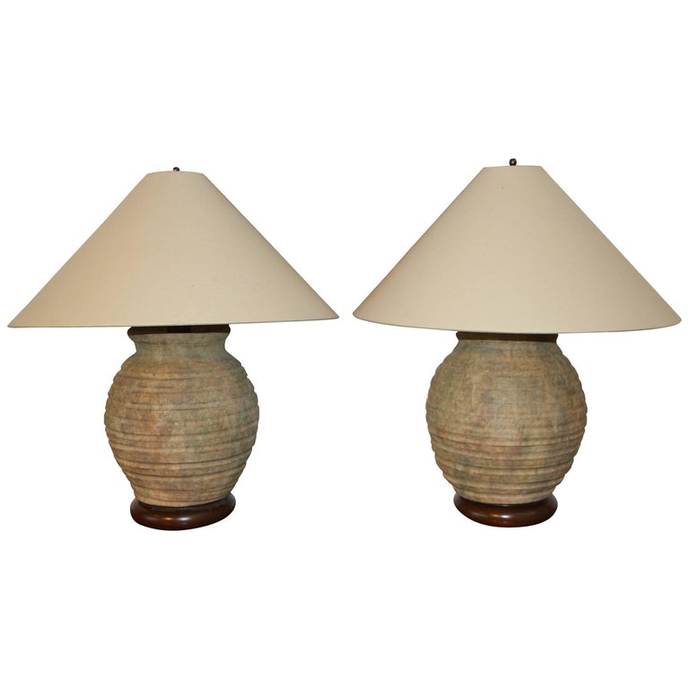 Pair of Ribbed Stone Ware Pottery Lamps For Sale