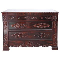 19th Century Post Civil War American Rosewood Chest of Drawers w/ Marble Top