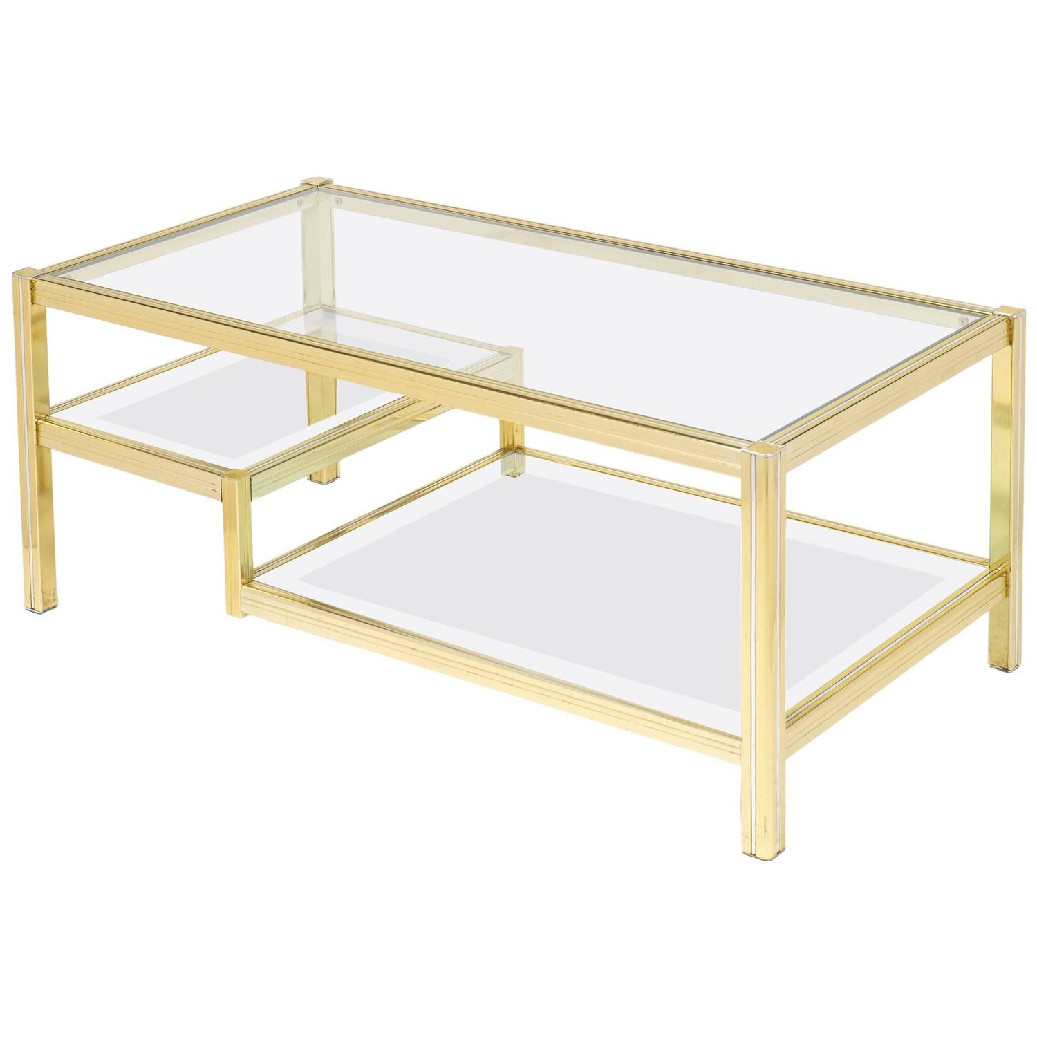 French Mid Century Three Tier Brass Glass Top Coffee Table at 1stdibs