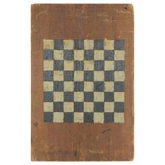 Antique American Hand-Painted Checker Game Board
