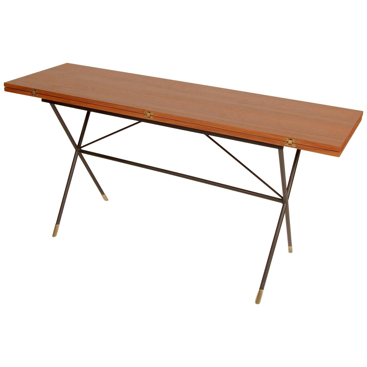 X Base Iron And Teak Flip Top Console Dining Table At 1stdibs