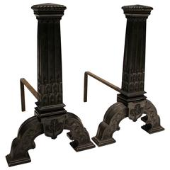 Late 19th Century Pair of English Arts and Crafts Patinated Bronze Andirons