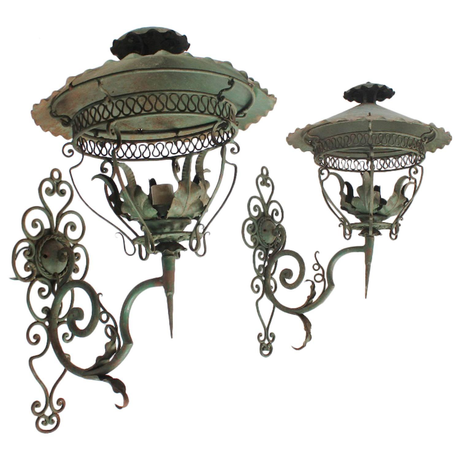 Decorative Antique Wall Sconces : Decorative Antique American Iron Wall Sconces at 1stdibs