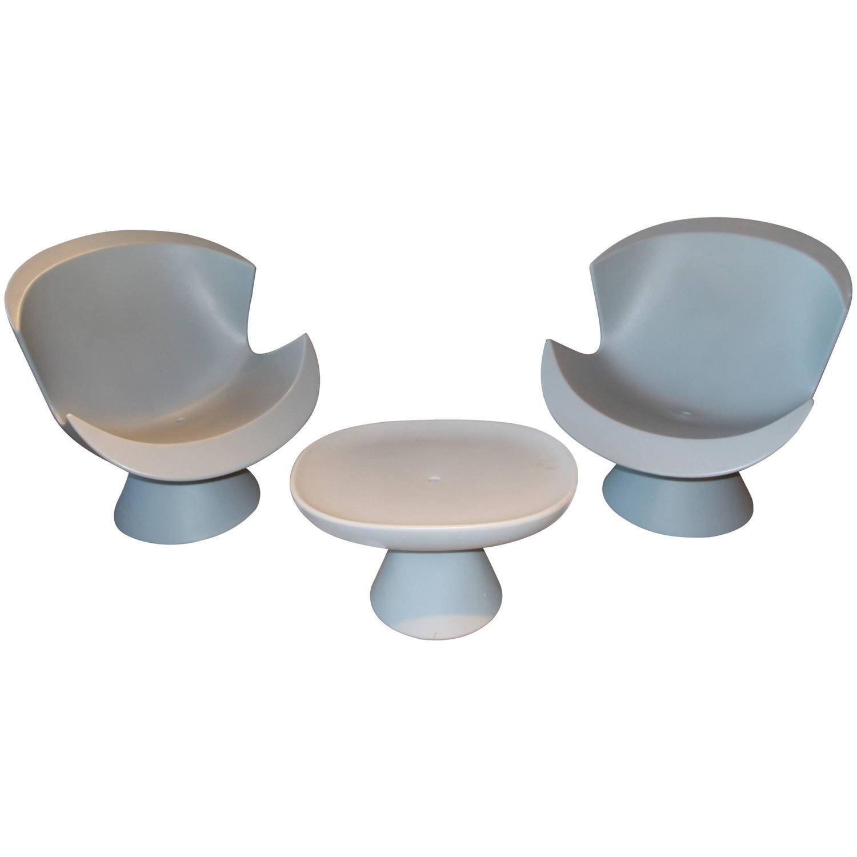 Karim Rashid Furniture Karim Rashid For Label Pair Of Kite Chairs And A Mini Kite Ottoman