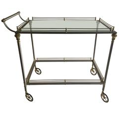 Exceptional French Maison Jansen Bar Cart in Polished Steel and Brass