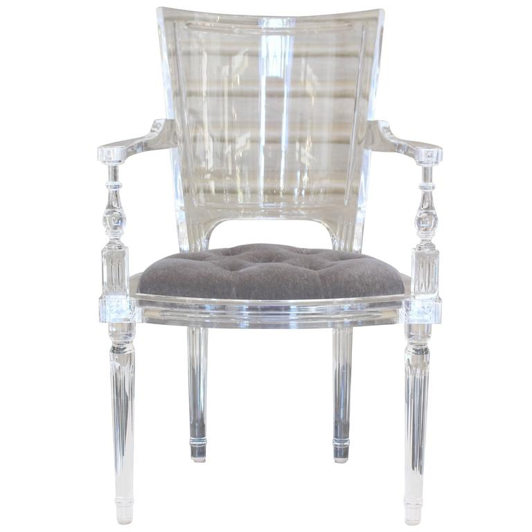 Exceptional Contemporary Marilyn Acrylic Armchair In Pewter Or Grey For Sale