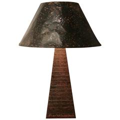 Hand-Hammered Patchwork Copper Lamp and Shade