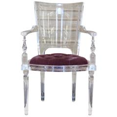 Contemporary Italian Clear Acrylic Marilyn Cabriolet Armchair in Louis XVI Style