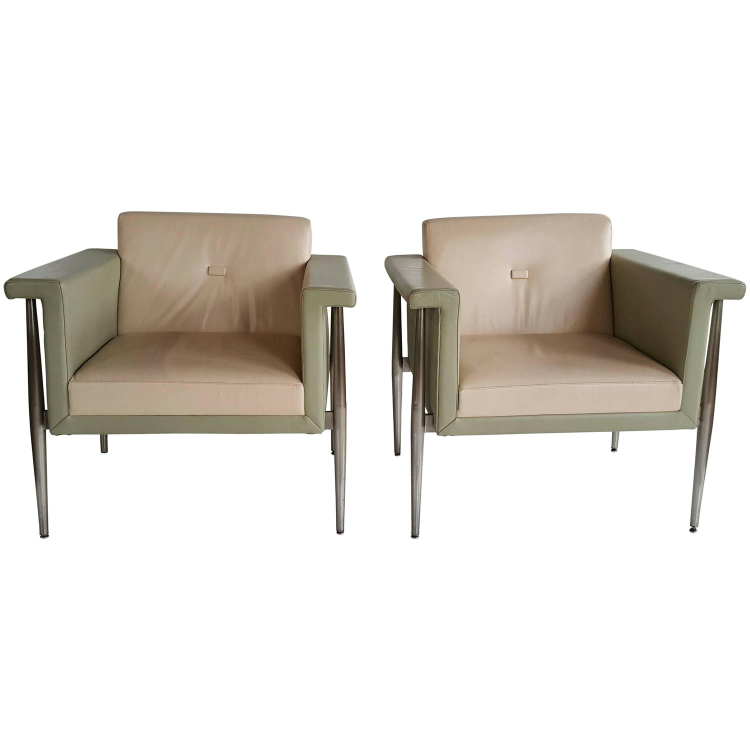 Memphis style two tone leather and aluminum lounge chairs for Bernhardt furniture for sale