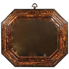 Dutch Baroque Tortoiseshell Veneered Cushion Mirror of Octagonal Form