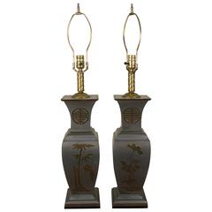 Pair of 1960s Pewter and Brass Table Lamps