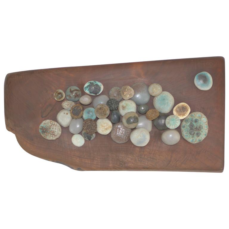 Winni Brueggemann Stoneware Sculpture on Solid Walnut Slab For Sale