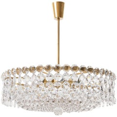 Bakalowits Chandelier, Crystal Glass and Gilt Brass, Austria, 1960s, 1 of 2