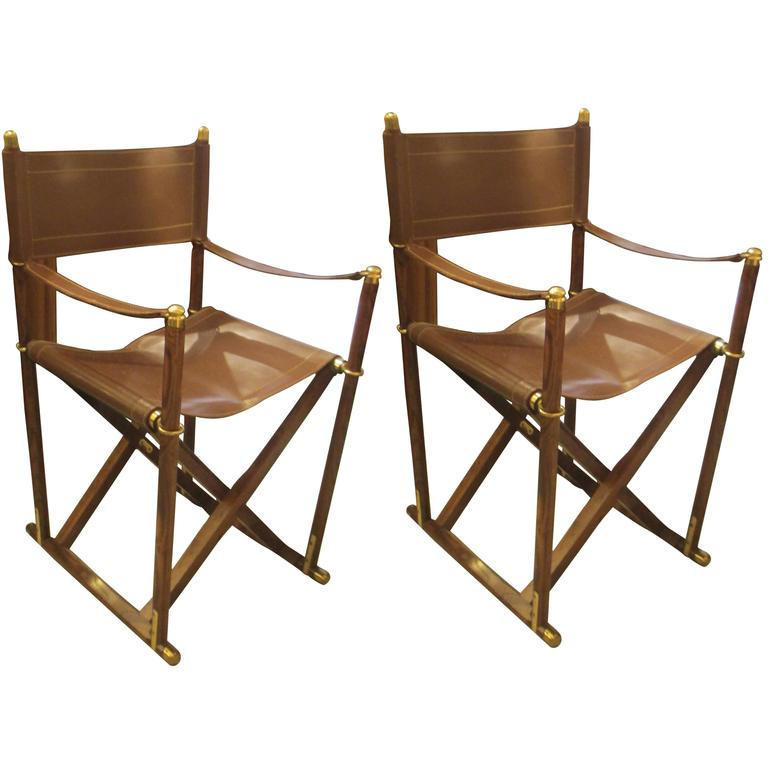 Pair Of French Rosewood And Leather Director Chairs For Sale