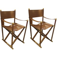 Pair of  French Rosewood and Leather Director  Chairs
