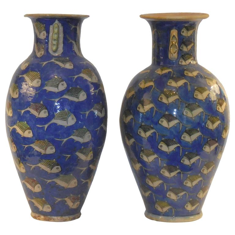 Pair Of Antique Ceramic Persian Vases For Sale At 1stdibs