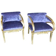 Pair of Modernismo Giltwood Fauteuils in the Manner of Joan Busquets