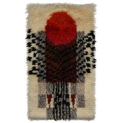 Vintage Abstract Denna Rya Wool Tapestry, circa 1960, Norway