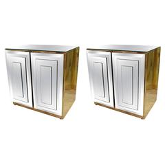 Pair of Ello Mirrored Mirror Brass Chests End Tables, Hollywood Regency