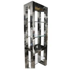 Paul Evans Signed Cityscape Chrome Etagere Shelf Mid-Century Modern Patchwork
