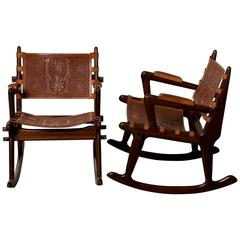 South American Wood and Tooled Leather Rocking Chairs, circa 1960s