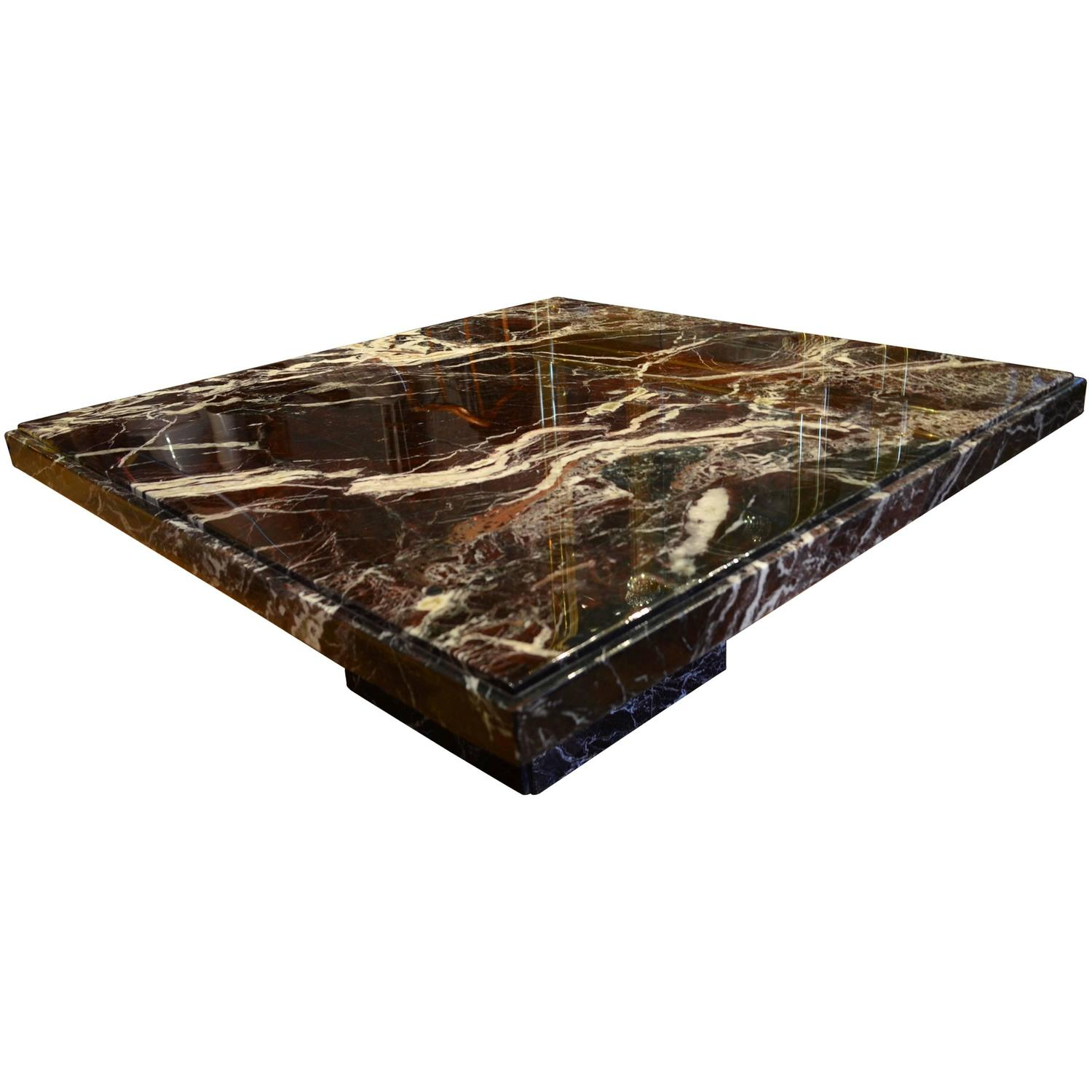 Italian Black Marble Square Coffee Table For Sale At 1stdibs