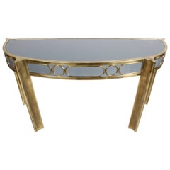 Mastercraft Demilune Brass and Lacquer Console Table, circa 1970s