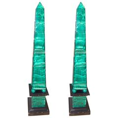 Pair of Continental Faux Painted Malachite Wooden Pyramids