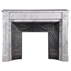 Arabescato Marble Fireplace with Its Original Cast Iron Inside