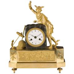 French Gilded Desk Clock, Directoire Period
