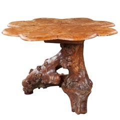 Burr Walnut Root Wood Table with a Scallop Edged Top