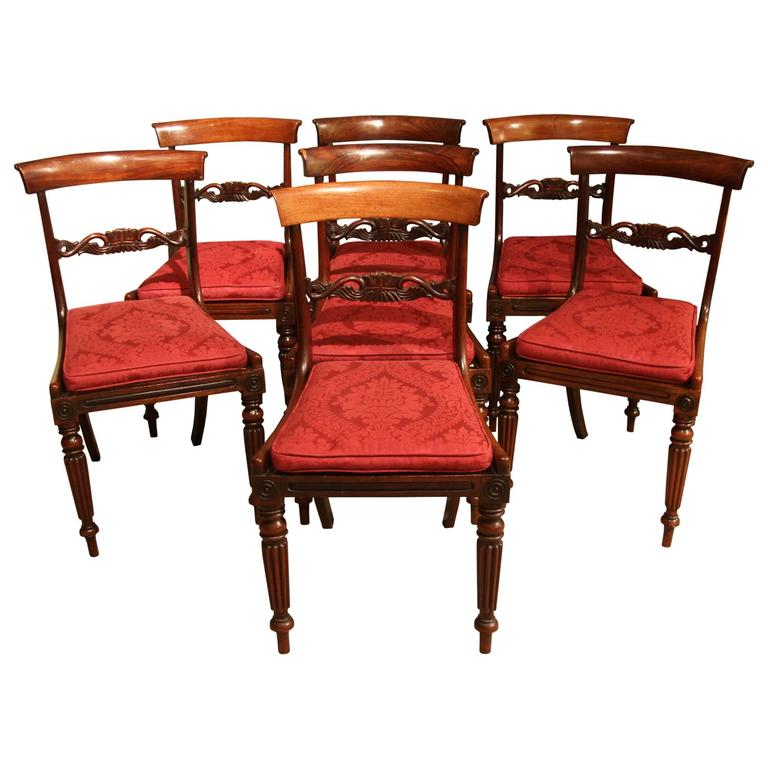 set of six regency rosewood dining chairs for sale at