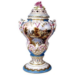 Herend Lidded Vase Picture Paintings by Istvan Lazar (1993), Height:14.76 inches