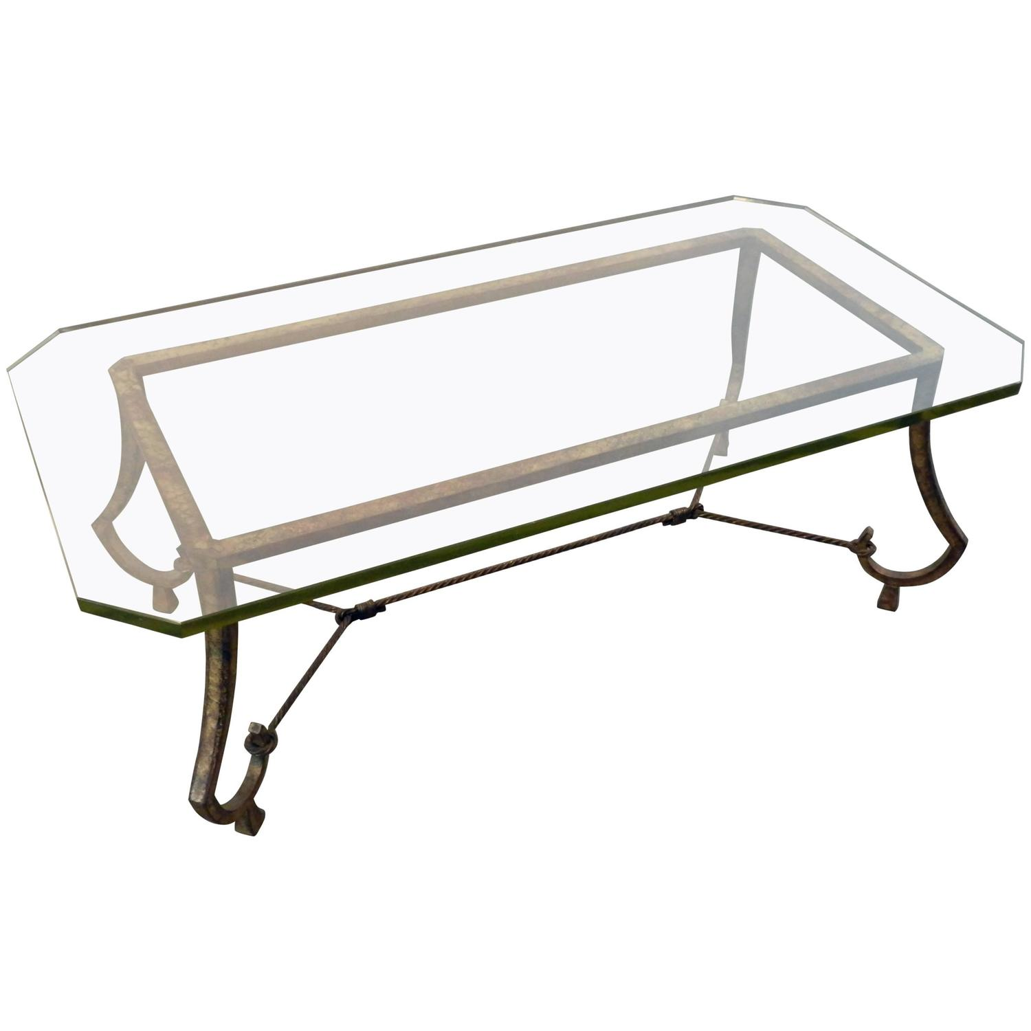 Maison ramsay patina gold leaf wrought iron coffee table at 1stdibs Wrought iron coffee tables