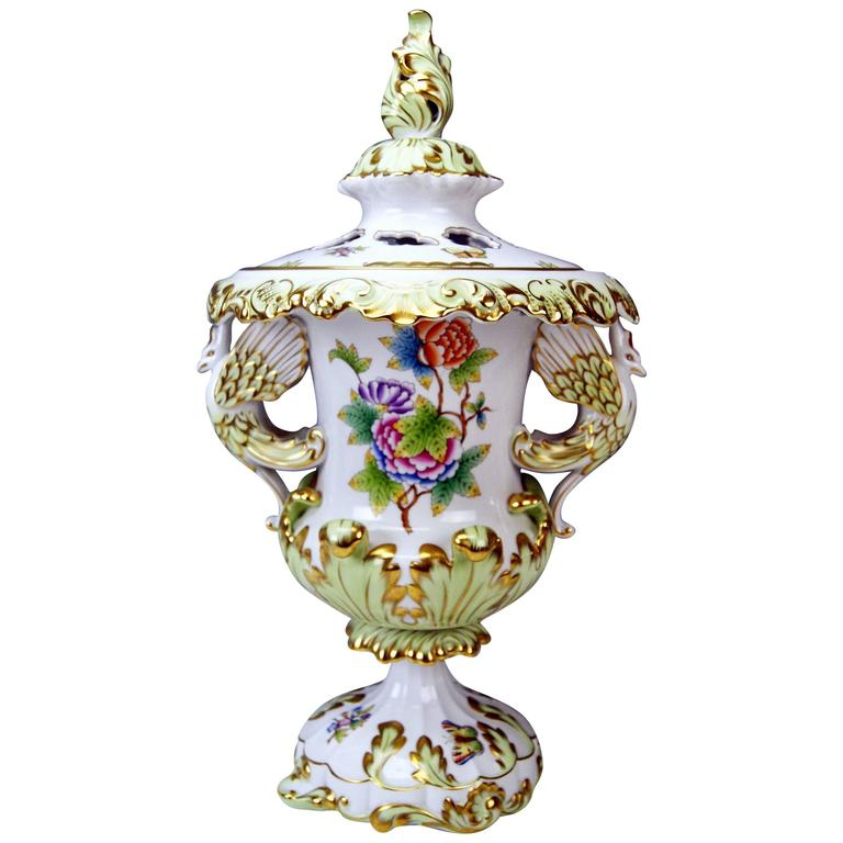 Herend Huge Lidded Vase VBO Hungary, circa 1950,  Height: 22.63 inches For Sale