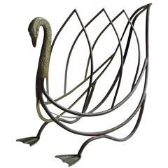 Maison Jansen Bronze Brass Swan Magazine Rack
