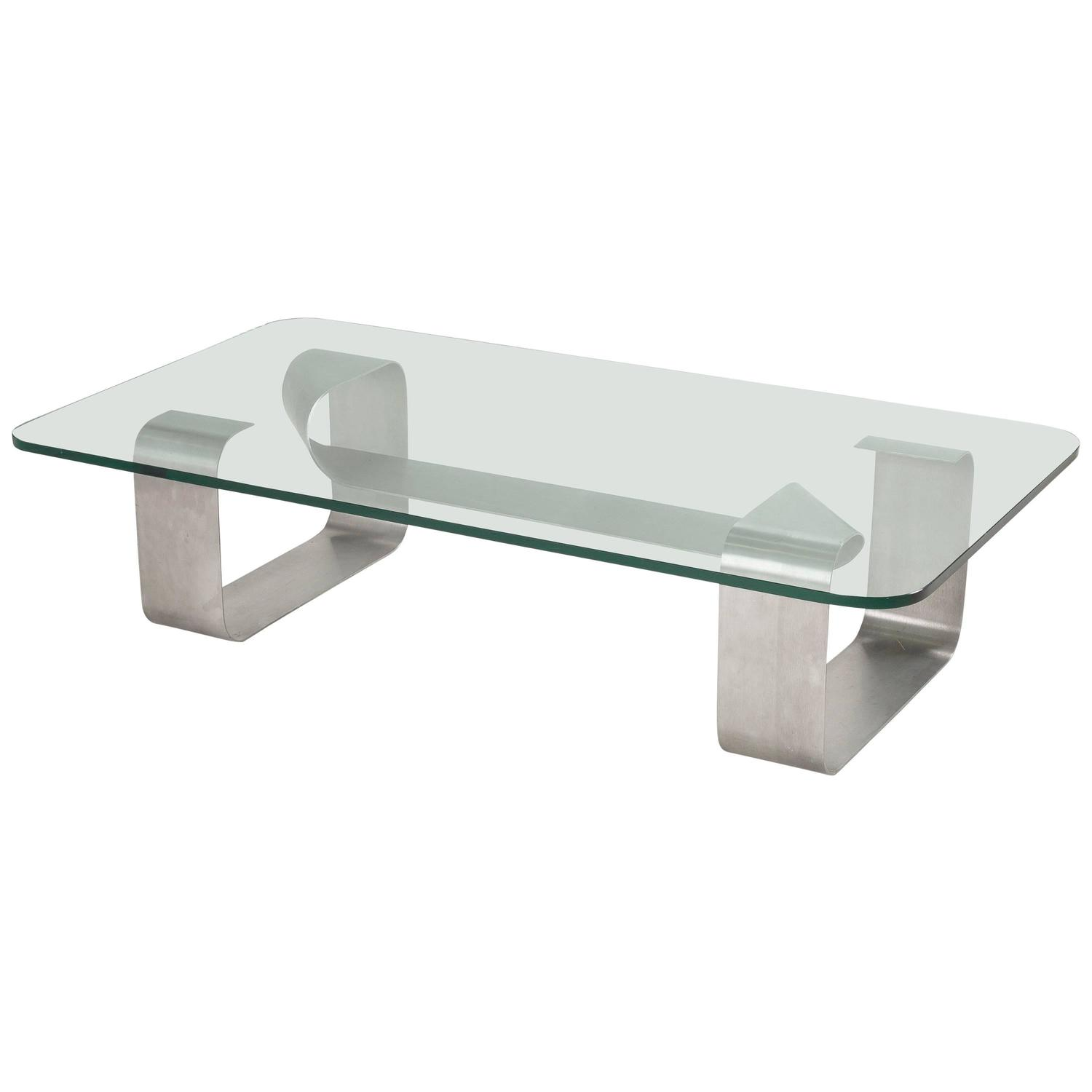 Steel coffee table with glass top by paul legeard for dom at 1stdibs Metal glass top coffee table